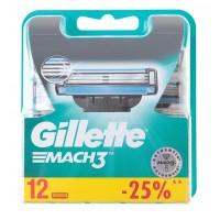Сменные кассеты картриджи для бритья Gillette Mach3, 12 шт