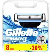 Gillette Mach3 Start Сменные Кассеты Картриджи Для Бритвы, 8 шт